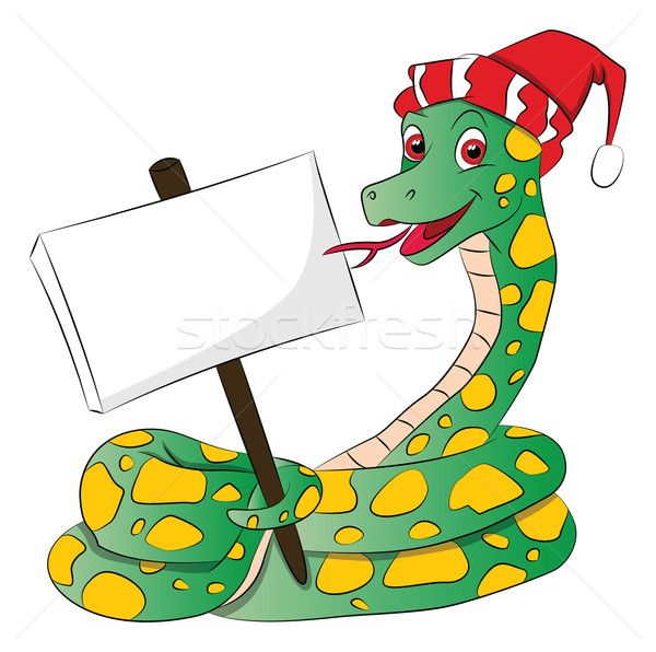 Vector of snake wearing santa hat and holding a blank signboard. Stock photo © Morphart