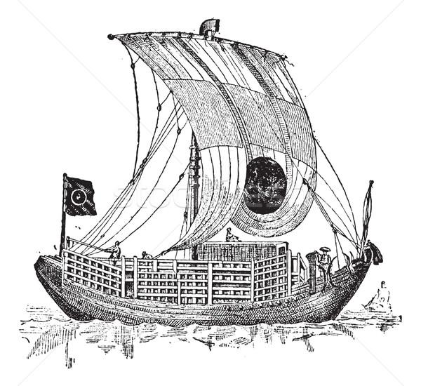 Chińczyk dżonka starożytnych żeglarstwo vintage Zdjęcia stock © Morphart