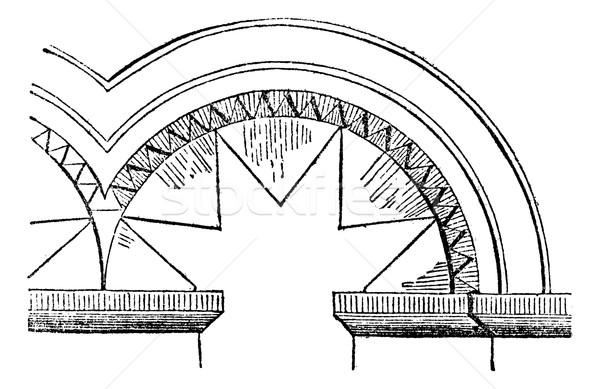 FR Intrados sawtooth (XI to XII century), vintage engraving. Stock photo © Morphart