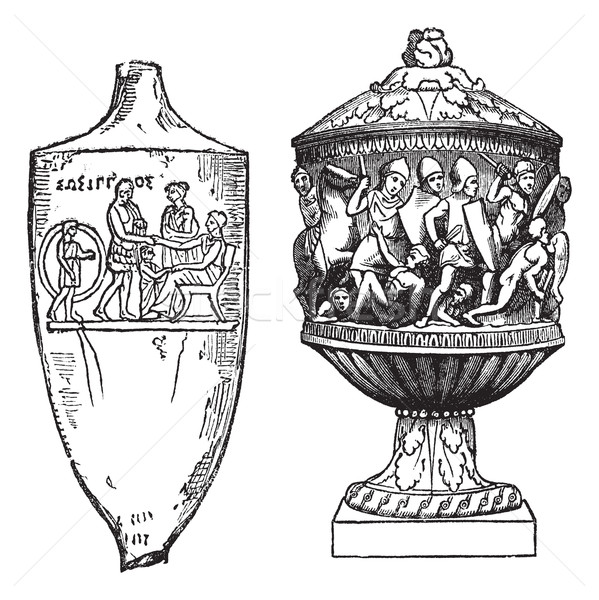Greek and Roman, urns vintage engraving Stock photo © Morphart