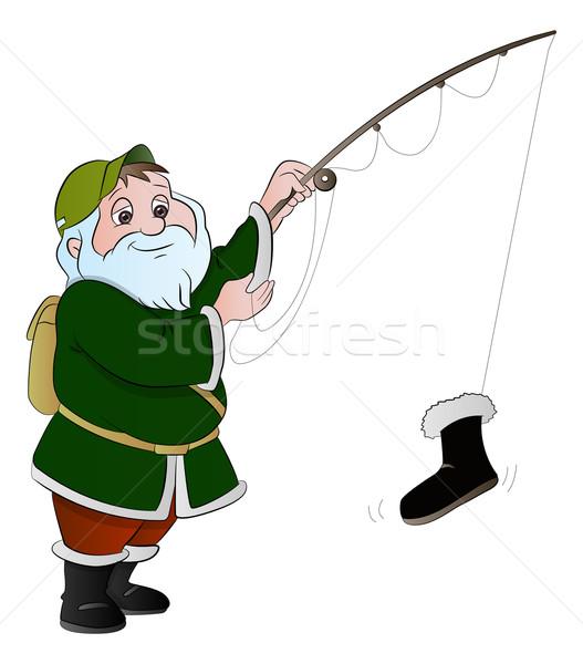 человека рыбалки иллюстрация отец обуви белый Сток-фото © Morphart