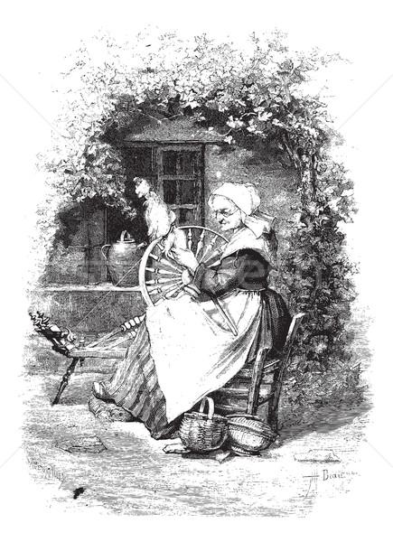 Bağbozumu oyma oyulmuş örnek kadın sanayi Stok fotoğraf © Morphart