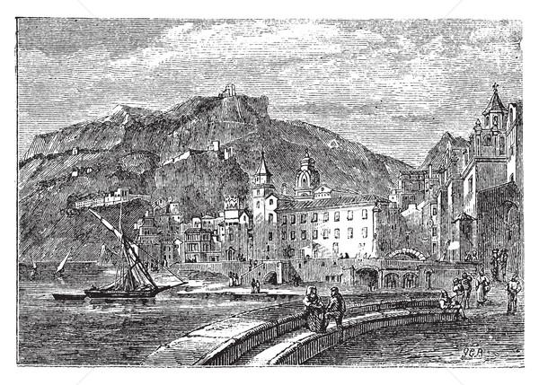 Amalfi in 1890, in the province of Salemo, Italy. Vintage engrav Stock photo © Morphart