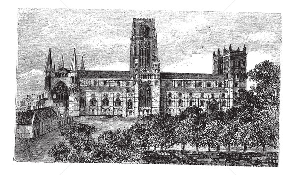 Durham Cathedral in England, United Kingdom, vintage engraving Stock photo © Morphart
