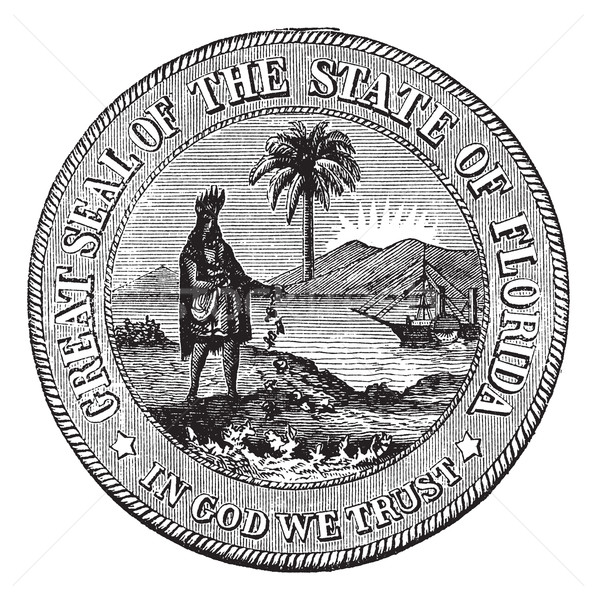 Seal of Florida, USA, vintage engraved illustration. Stock photo © Morphart