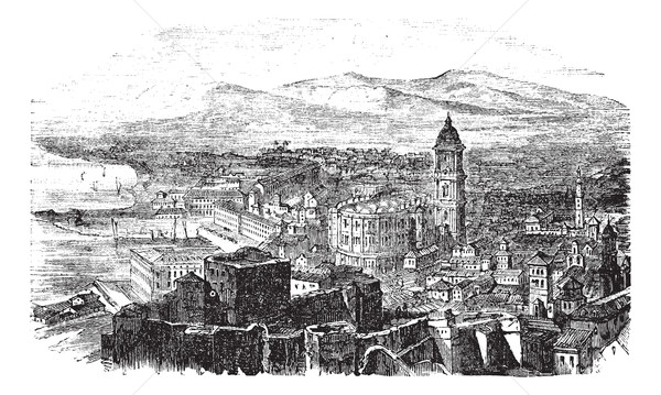 Malaga in Andalusia Spain vintage engraving Stock photo © Morphart
