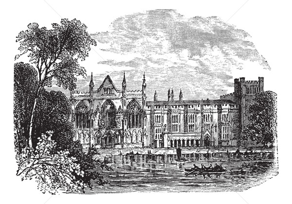 Newstead Abbey in Nottinghamshire, England, UK, vintage engraved Stock photo © Morphart