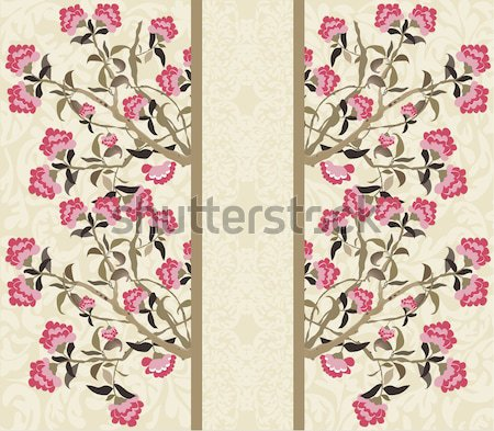 Vintage card with floral design, pink flowers Stock photo © Morphart