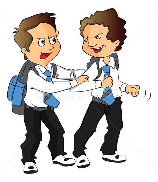 Vector of schoolboys fighting. Stock photo © Morphart