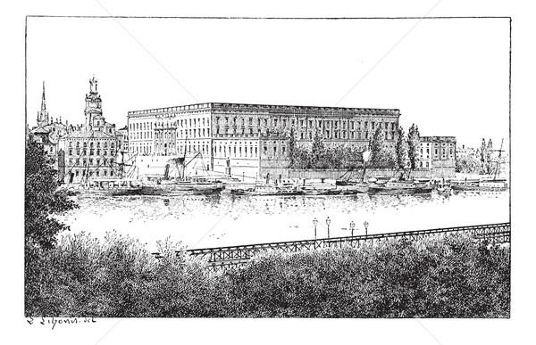 ストックフォト: ロイヤル · 宮殿 · ストックホルム · スウェーデン · ヴィンテージ · 彫刻