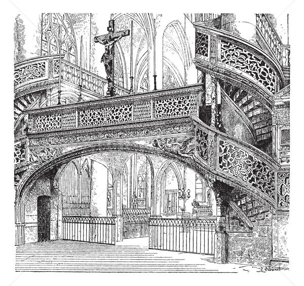 Chiesa Parigi Francia vintage inciso illustrazione Foto d'archivio © Morphart