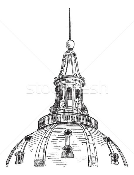 Lámpás kupola Párizs klasszikus vésés gravírozott Stock fotó © Morphart