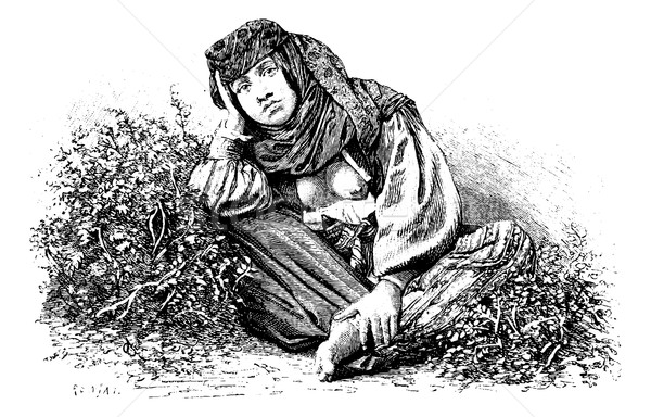 Woman from Beitin in West Bank, Israel, vintage engraving Stock photo © Morphart