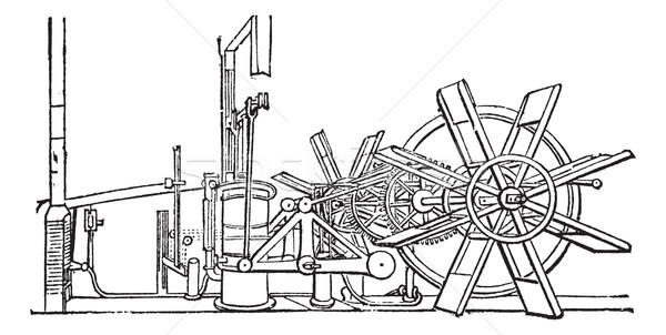 Clermont Steam Ship Paddle Wheel Unit vintage engraving Stock photo © Morphart