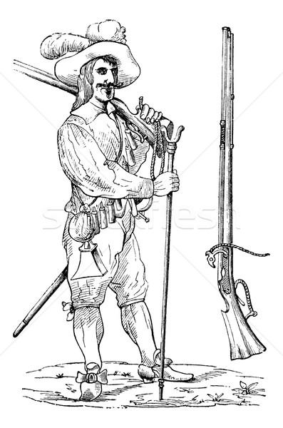Musketier vork vintage gegraveerd illustratie encyclopedie Stockfoto © Morphart