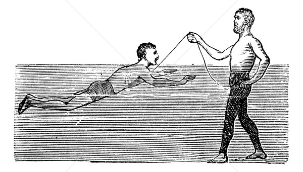 Learning to Swim with the Aid of a Rope, vintage engraved illust Stock photo © Morphart