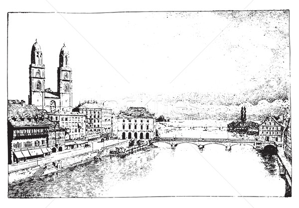 Zurich, vintage engraving. Stock photo © Morphart
