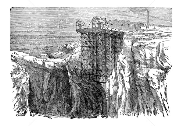 Mining Installation on a Cliff, vintage engraving Stock photo © Morphart