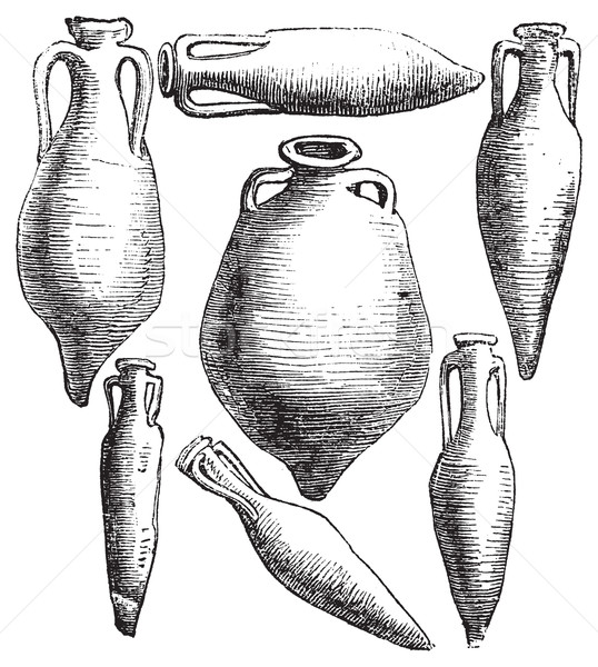 Greek and Roman amphora vases vintage engraving. Stock photo © Morphart