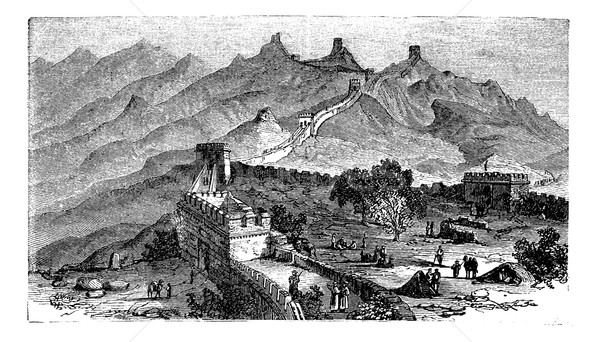 Great Wall of China, during the 1890s, vintage engraving Stock photo © Morphart