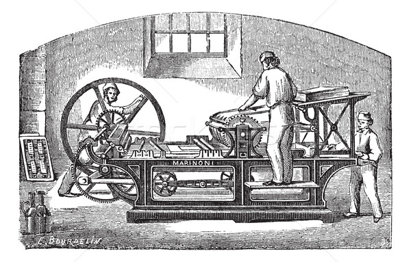 Marinoni  printing press vintage engraving Stock photo © Morphart