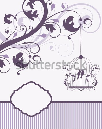 Stock photo: Purple swirly invitation card with cage