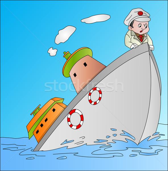 Stock fotó: Hajó · süllyed · illusztráció · tenger · óceán · férfiak