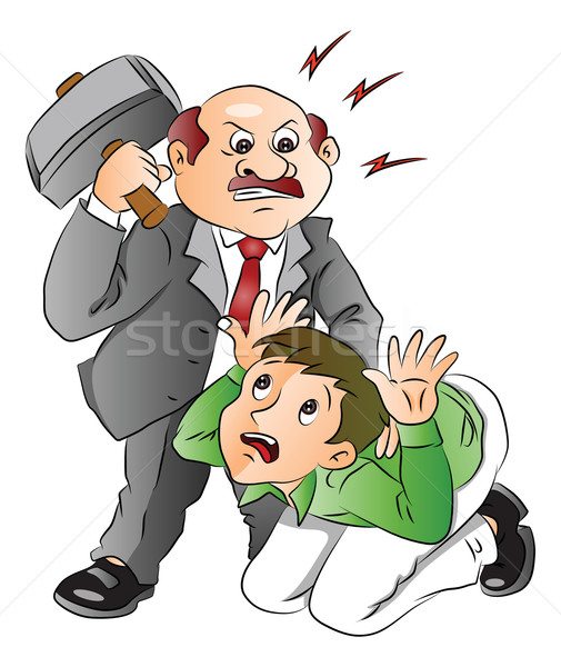 Vector of angry businessman hitting employee. Stock photo © Morphart