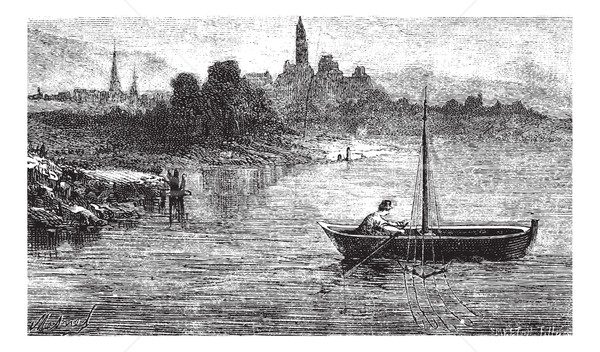 FIG. 102. - Fishing for trout has an otter, vintage engraving. Stock photo © Morphart