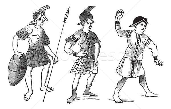 The Face-simile of three Gallo-roman soldiers vintage engraving Stock photo © Morphart