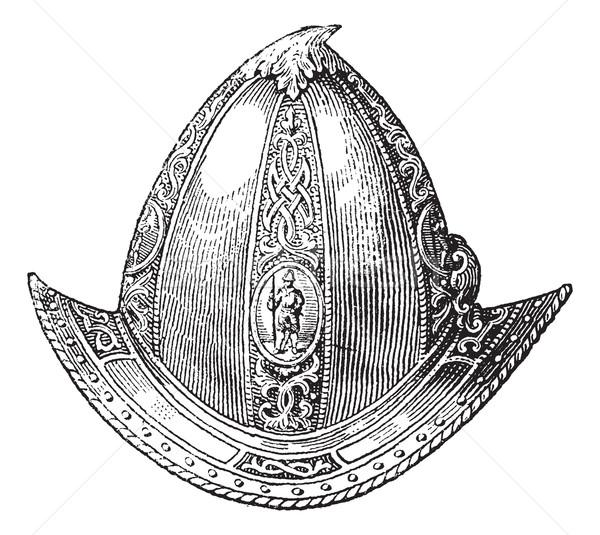 Cabaset peaked or helmet vintage engraving Stock photo © Morphart