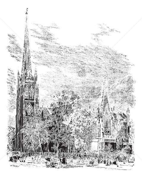 Catedral New Jersey EUA vintage gravado ilustração Foto stock © Morphart