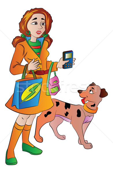Woman with Bags Cellphone and a Pet Dog, illustration Stock photo © Morphart