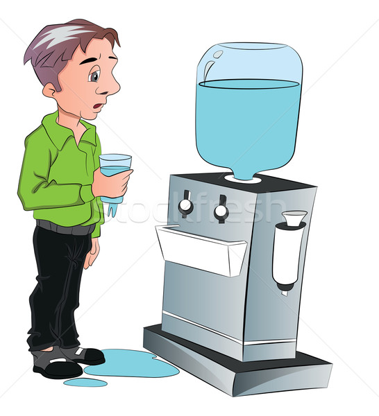 Vector of man drinking water from cooler. Stock photo © Morphart