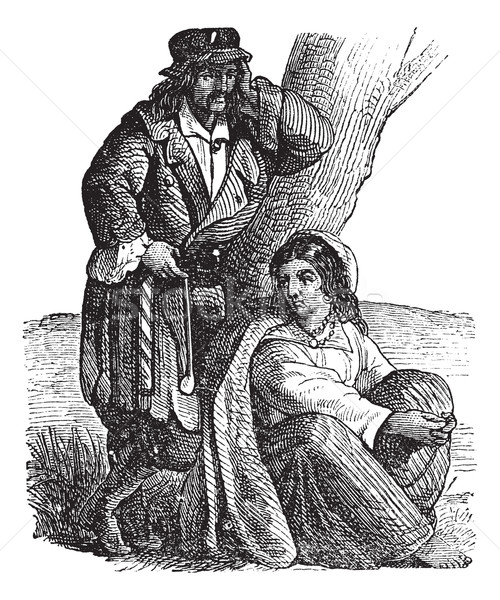Stock photo: Young gypsy couple by tree vintage engraving