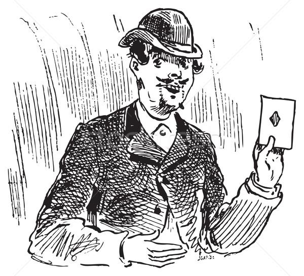 Három kártya vésés illusztráció trükk egy Stock fotó © Morphart