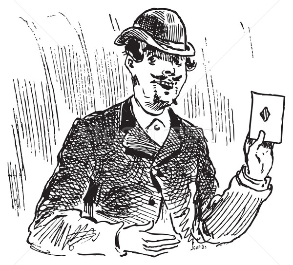 The three card trickster engraving illustration Stock photo © Morphart