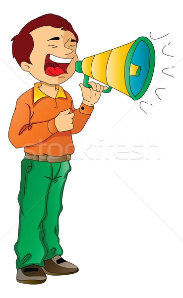Man Using a Megaphone, illustration Stock photo © Morphart