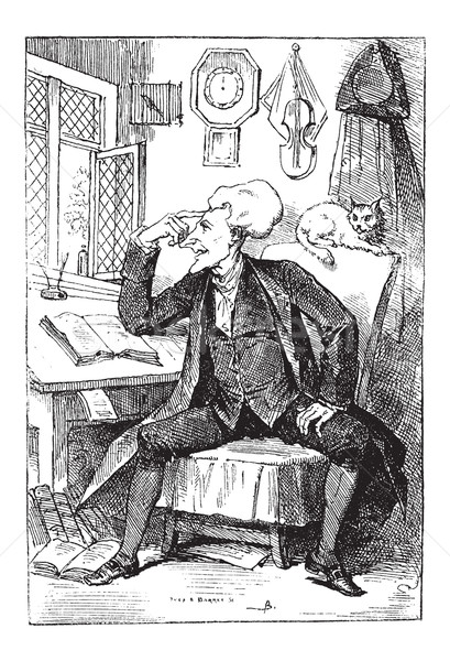 Doctor Syntax Reflecting on his Book Readings, vintage engraving Stock photo © Morphart