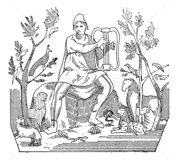 Orpheus attracting wild animals to the sound of his lyre, vintag Stock photo © Morphart