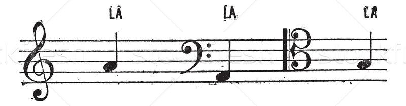 Pozició musical klasszikus vésés gravírozott illusztráció Stock fotó © Morphart
