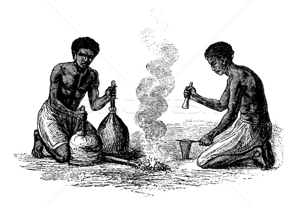 Blacksmiths of Caquingue in Angola in Southern Africa, vintage e Stock photo © Morphart