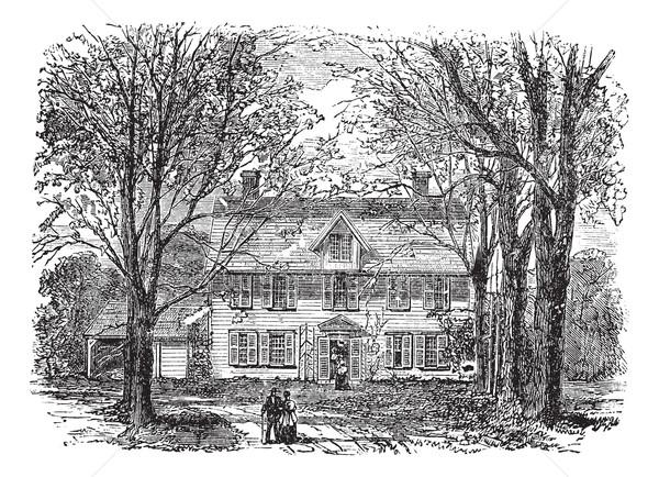 家 マサチューセッツ州 ヴィンテージ 彫刻 古い 刻ま ストックフォト © Morphart