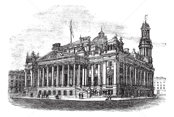 Royal Exchange in Manchester England vintage engraving Stock photo © Morphart