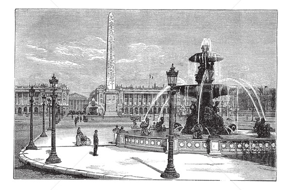 Place de la Concorde in Paris France vintage engraving Stock photo © Morphart