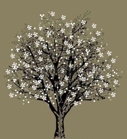 Stockfoto: Boom · silhouet · witte · bloemen · symbool · natuur · bos