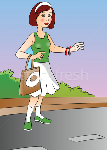 Vector of a woman hitchhiking at roadside. Stock photo © Morphart
