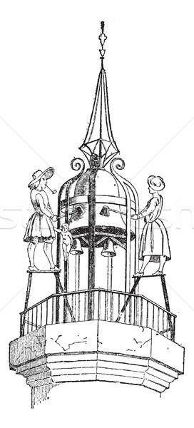Jacquemart (bellstriker), vintage engraving. Stock photo © Morphart