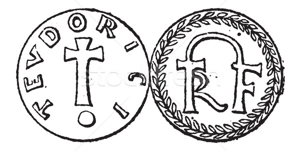Coin Currency, Merovingian Dynasty, vintage engraving Stock photo © Morphart