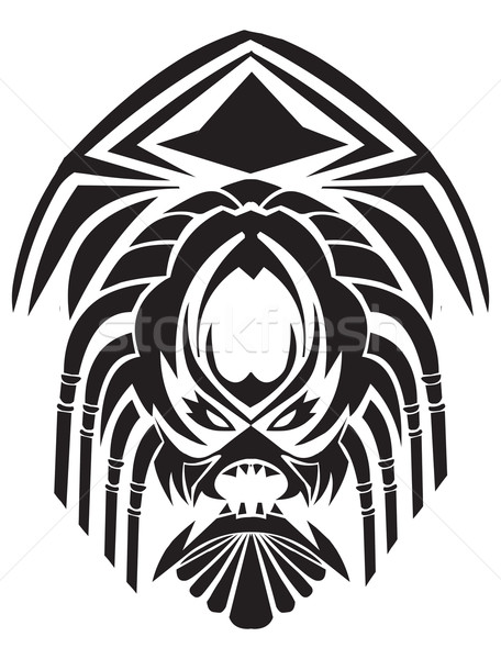 Tattoo design of tribal mask, vintage engraved illustration. Stock photo © Morphart